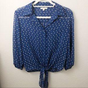 Pleione heart print blue blouse